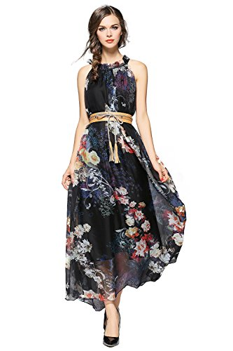 3d5e5941713 Gorgeous flower print for a graceful look. Material  Chiffon. Sheer overlay  covers matching lining creates a feminine silhouette. It is perfect for  evening