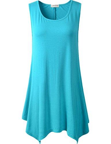 5c89d3f3c0c LARACE Lanmo Women Plus Size Solid Basic Flowy Tank Tops Summer Sleeveless  Tunic1X