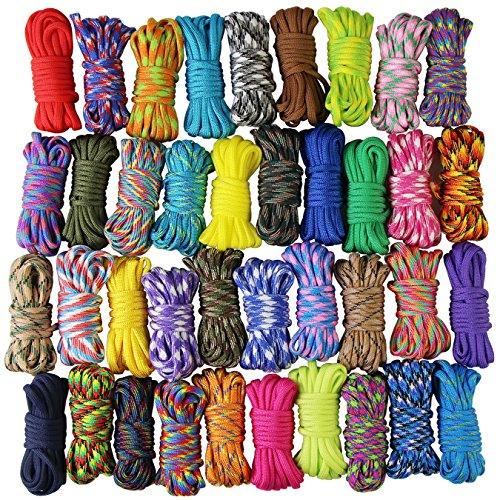 7PCS Rainbow Color Paracord Parachute Ropes Nylon Outdoor Survival Camping 3M
